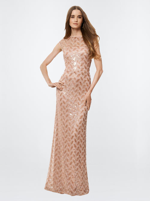 Sequined Cap Sleeve Gown, DAVID MEISTER - elilhaam.com