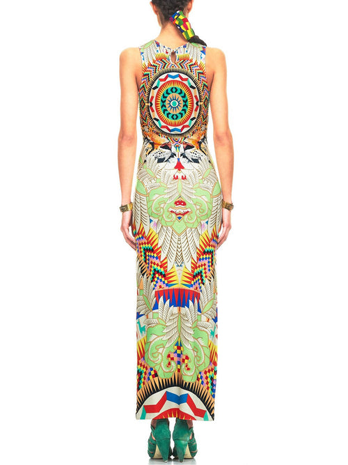 Fitted Column Dress-White