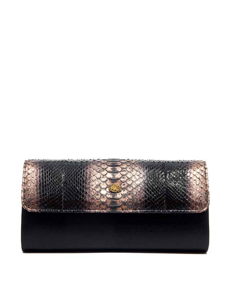 Theta Rose Gold/Black Python Clutch, PAOLA BONACINA - elilhaam.com