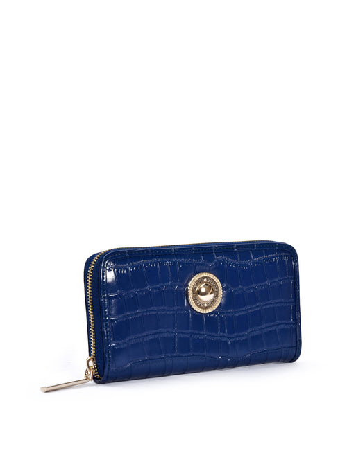 Blue Mock Croc Wallet