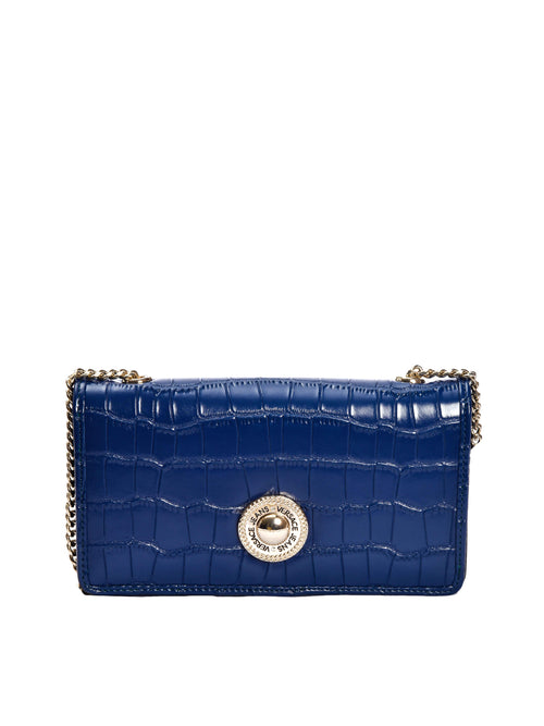 Blue Mock Croc Wallet With Chain