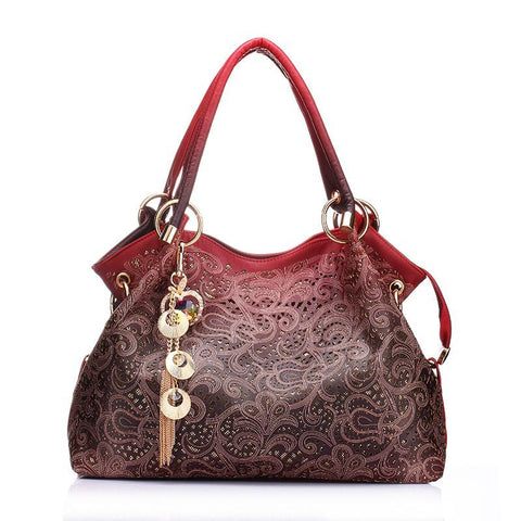 Beautiful Ombre Paisley Purse with Charm - PB and Apple Jelly