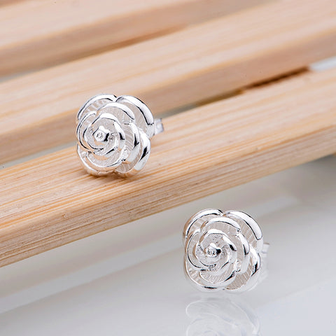 Sterling Silver Rose Stud Earrings - PB and Apple Jelly