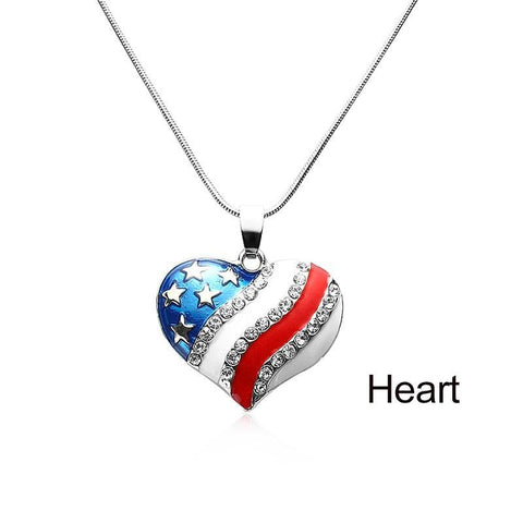 American Flag Enamel Rhinestone Star/Heart Necklaces - PB and Apple Jelly