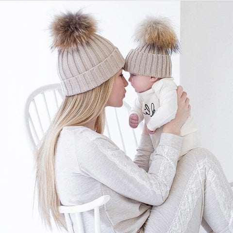 Mommy and Me Warm Winter Caps with Puff Ball