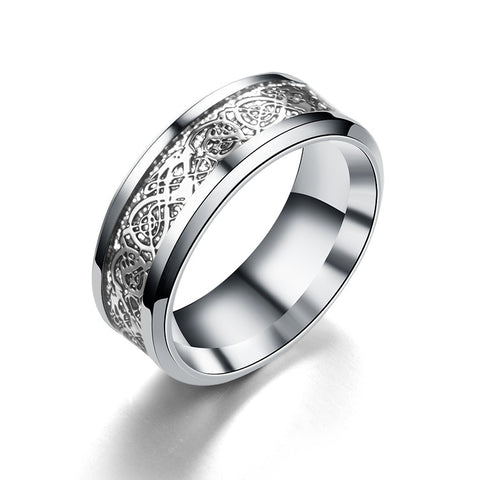 Titanium Celtic Hollow Dragon Inlay Rings (Sizes 6-13) - PB and Apple Jelly