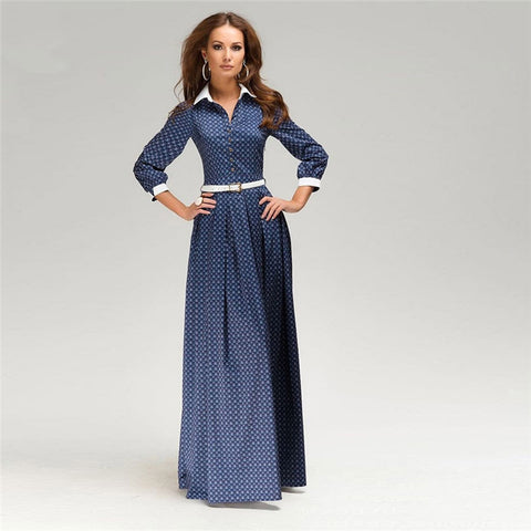 Floor-Length Blue Collared Dress with Belt (Up to US size 22)