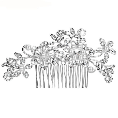 Fancy Crystal Flower Hair Combs