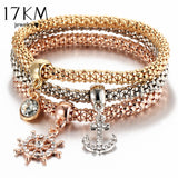 3 PCS/Set Crystal Charm Elastic Bracelets - PB and Apple Jelly