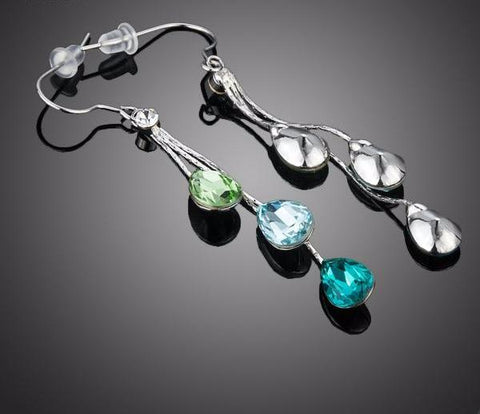 Elegant Water Drop Austrian Crystal Dangle Earrings - PB and Apple Jelly