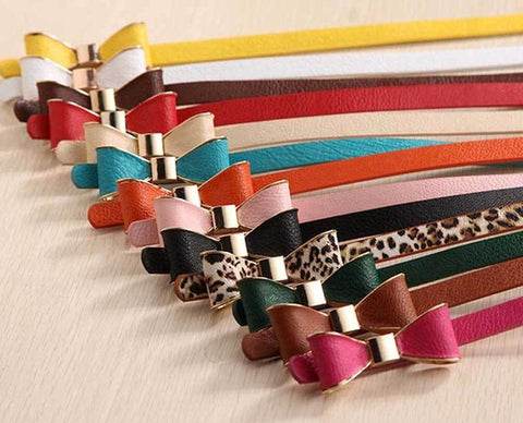 Colorful Thin Bow Belts (41.3 Inches Long) - PB and Apple Jelly