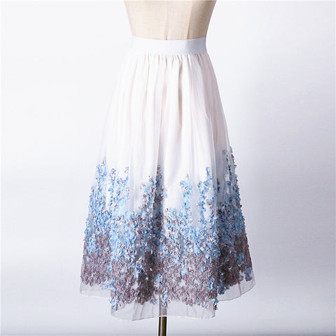 Intricate Floral Organza Skirt (Stretches to 39.4 Inches) - PB and Apple Jelly