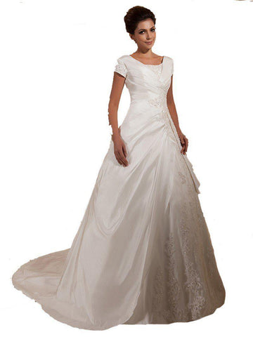 Elegant Taffeta Ball Gown Wedding Dress with Chapel Train (US Sizes 2-26W) - PB and Apple Jelly