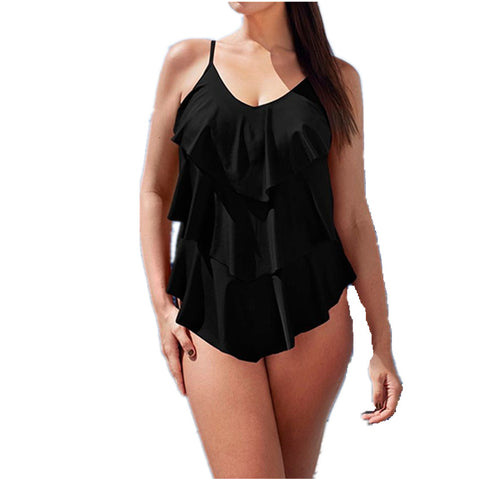 Solid One-Piece Swim Suit with Layered Ruffles (US Sizes 8-16) - PB and Apple Jelly