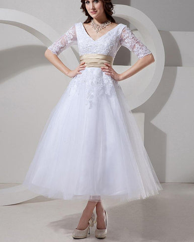 Beaded A-Line Tea Length Wedding Dress with Champagne Belt (US Sizes 2-26W) - PB and Apple Jelly