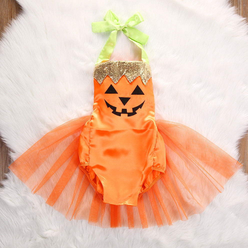 4929fda2e1e1 Sparkly Pumpkin Romper with Tulle (US Sizes 6-24 Months) – PB and ...