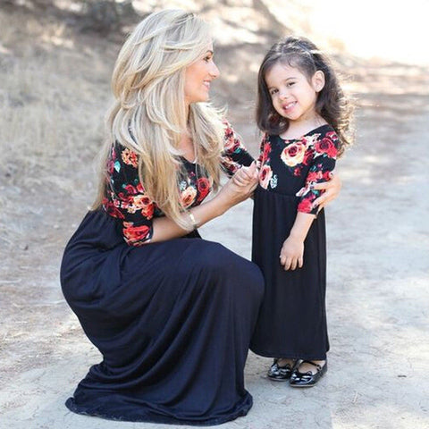 Mommy and Me Black and Navy Floral Dresses (US Sizes 2T-12/XS-XL) - PB and Apple Jelly
