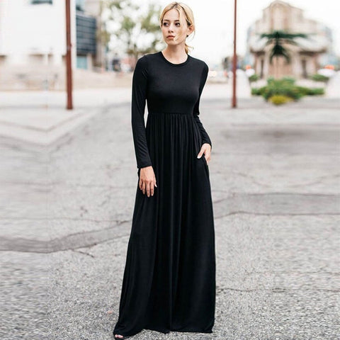 Long Sleeved Soft Solid Maxi Dresses with Pockets (US Sizes 4-20)