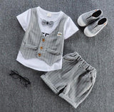 Suit Shirt and Shorts Outfit (US Sizes 12M-4T) - PB and Apple Jelly