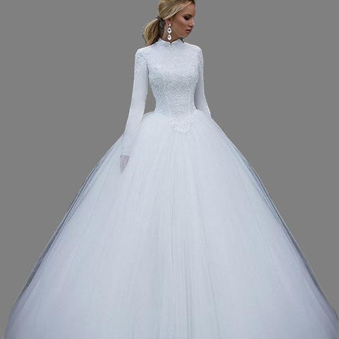 Elegant High-Neck Tulle Ball Gown Wedding Dress (US Sizes 2-16W) - PB and Apple Jelly