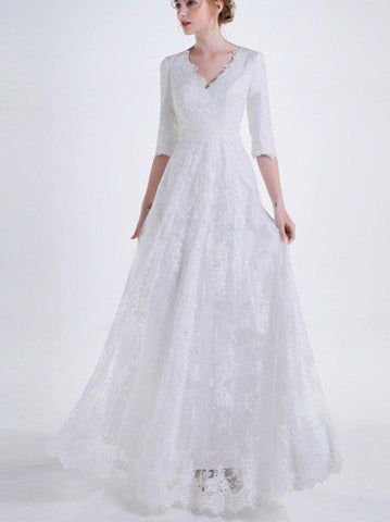 Intricate Floral Lace Wedding Gown (US Sizes 2-22W) - PB and Apple Jelly