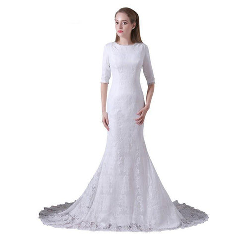 Lace Mermaid Wedding Gown with Train (US Sizes 2-22W) - PB and Apple Jelly