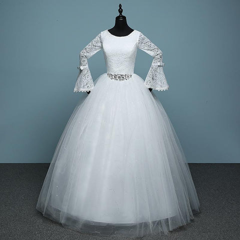 Lace Ball Gown with Crystal Waist Detail and Tulle Overlay Skirt (US Sizes 2-20W) - PB and Apple Jelly