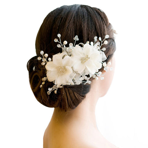Lace Double Flower Hair Piece with Rhinestones and Bead Branches