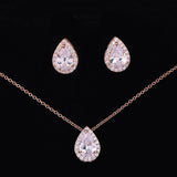 Sparkly Tear Drop Necklace and Earrings Set