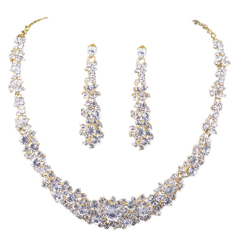 Shiny Rhinestone Dangle Earrings and Necklace Set
