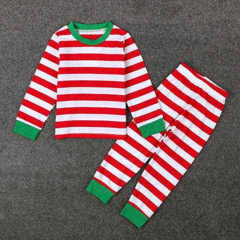 Image of Red/Green Striped Christmas Pajamas (sizes 2T-7) - PB and Apple Jelly