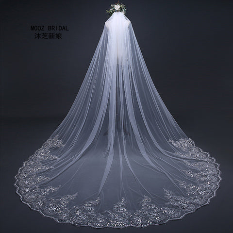 Tulle Cathedral Wedding Veil with Floral Appliqued Edges - PB and Apple Jelly