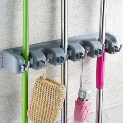 Durable Wall-Mounted Mop and Broom Holder - PB and Apple Jelly