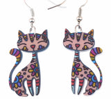 Fun Colorful Dangly Cat Earrings - PB and Apple Jelly