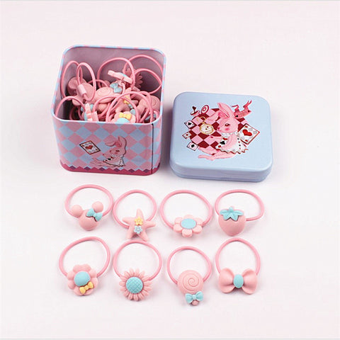 40Pcs Elastic Hairbands with Tin Box
