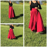 High Waist Maxi Skirt with Bow and Pockets (Up to 37-inch waist) - PB and Apple Jelly