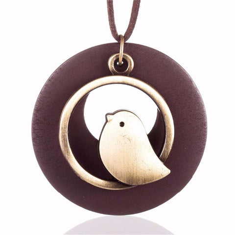 Bird Wooden Bead Long Necklace - PB and Apple Jelly