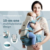 Multifunctional 10-in-1 Ergonomic Hipseat Baby Carrier - PB and Apple Jelly