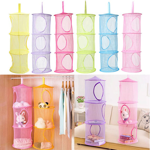 3 Shelf Hanging Mesh Toy Organizer