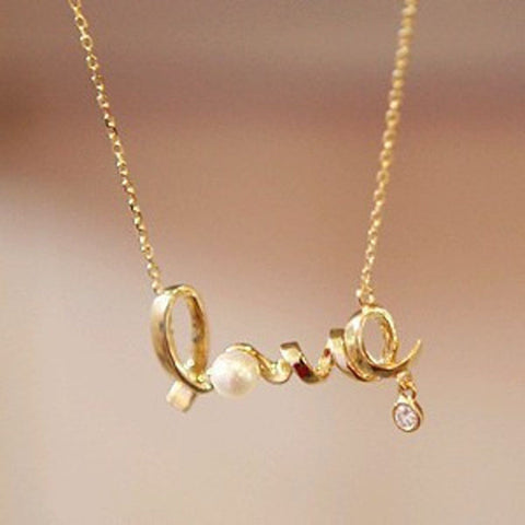 Cursive Love Necklace with Pearl