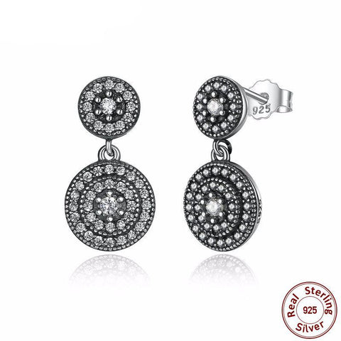 Sterling Silver Radiant Pave Setting Cubic Zirconia Drop Earrings - PB and Apple Jelly