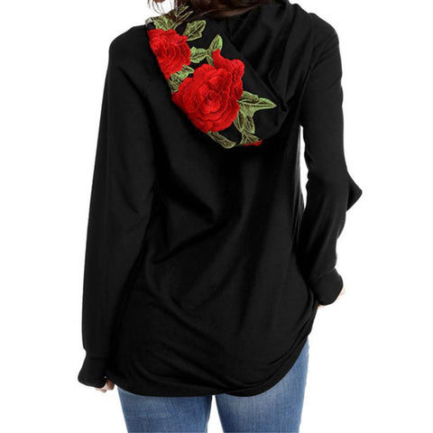 Beautiful Black Shirt with Rose-Embroidered Hood (US Sizes XXS-M) - PB and Apple Jelly