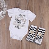 Daddy's Girl Mommy's World Bodysuit and Leggings (up to 18 months) - PB and Apple Jelly