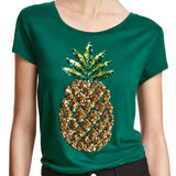 Sequined Pineapple T-Shirt (US Sizes 14-22) - PB and Apple Jelly