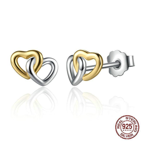 Sterling Silver United in Love Heart Earrings - PB and Apple Jelly