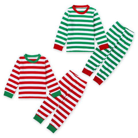 Red/Green Striped Christmas Pajamas (sizes 2T-7) - PB and Apple Jelly
