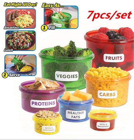 7Pc. Portion Control Food Storage Containers