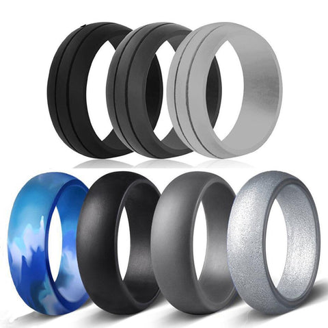 *5 Styles* 7-Pack Comfortable Silicone Wedding Bands (Ring Sizes 6-12) - PB and Apple Jelly