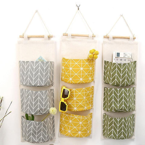 3 Pockets Hanging Linen Organizer - PB and Apple Jelly