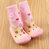 1 Pair Baby/Toddler Anti-Slip Socks with Rubber Soles - PB and Apple Jelly